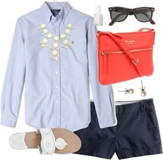 Button Up  Bubbles by classically-preppy featuring a pearl jewellery ❤ liked on PolyvoreJ.Crew j. crew shorts / Jack Rogers beach shoes / Blu Bijoux bubble bib necklace / J.Crew pearl jewellery / J.Crew j crew glasses / Polo Ralph Lauren Blue Oxford Custom Fit Shirt / Essie , $17