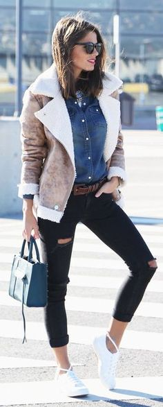 Bronze Shearling Moto Jacket by Seams For a Desire