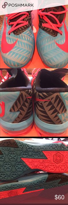 """Nike KD 6 """"N7"""" Turquoise blue, red black Authentic Nike KD 6 """"N7"""" Turquoise blue, red and black. Size 6Y. Nike Shoes Sneakers"""