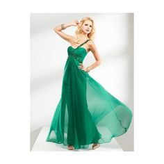 A-line One Shoulder Sleeveless Chiffon Hunter Prom Dresses With Beaded... ($105) ❤ liked on Polyvore featuring dresses, cocktail prom dress, one shoulder prom dresses, beaded prom dresses, one shoulder chiffon dress and green prom dresses