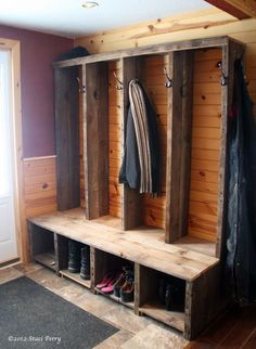 Mud room possibilities… very cool, mountain lodge feel! Very simple and won't take up a lot of room for new house. And hubby could build us the coat/shoe rack. Win win! :)