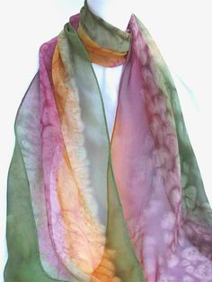 Unique SILK SCARF Hand Painted Green Gold Mauve by ShariArts, $34.00