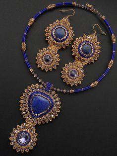 Swarovski crystals and Lapis lazuli Set. by AfinaBeads on Etsy