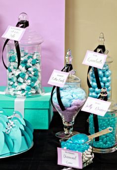 Lovely candy jars at a Tiffany's party! See more party ideas at CatchMyParty.com!