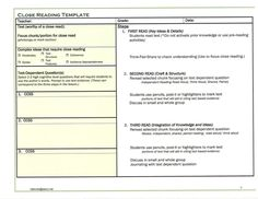 Modified guided reading for ells guided reading for Close reading planning template