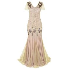 Kayamiya Women Long Prom Gown Beaded Sequin Art Deco Formal Evening Dress With Sleeve at Women's Clothing store: Sequin Evening Dresses, Evening Dresses With Sleeves, Long Prom Gowns, Mermaid Evening Dresses, Gowns With Sleeves, Prom Dresses, Dress Long, Flapper Dresses, Short Prom