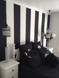 Interior Ideas, Inspiring Painted Wall Designs For Bedroom By Black White Stripped Wall Feat Black Bedsheet Between White Wooden Drawers And Hanging Lamps: Surprising Painted Wall Designs For Bedroom