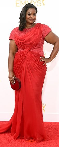 Octavia Spencer looked regal in a draped red gown at the 2014 Emmys.