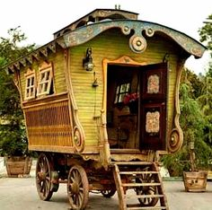 """Caravan Gypsy Vardo Wagon: A wagon. """"Have I not commanded you? Be strong and courageous. Do not be afraid; do not be discouraged, for the Lord your God will be with you wherever you go."""" (Joshua NIV) I've been wanti… Gypsy Trailer, Gypsy Caravan, Gypsy Wagon, Caravan Decor, Bohemian Gypsy, Gypsy Style, Hippie Style, Gypsy Decor, Bohemian Style"""