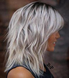 90 Sensational Medium Length Haircuts for Thick Hair - Medium Silver Blonde Shag
