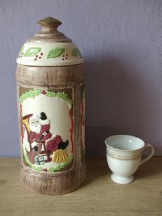 vintage Christmas cookie jar canister ceramic by ShoponSherman, $12.00