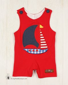 Millie Jay Sailboat Appliqued Shortall - Lily Pads Boutique