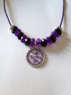 Baltimore Ravens Football Inspired Ravens Girl with White/Purple Background Beaded Purple Leather Necklace on Etsy, $25.00