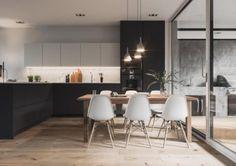 Mustavalkoista ajatonta tyyliä, puisia pintoja ja skandinaavista tunnelmaa keittiössä