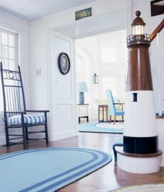 Nautical Lighthouse Newel Post | A Beacon of Light for the Stairway - Completely Coastal