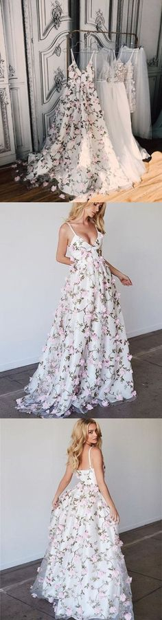 Beautiful Prom Dresses Spaghetti Straps Floral Lace Long Prom Dress Evening Dress P2267