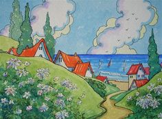 """Just a Step from the Sea Storybook Cottage Series"" - Original Fine Art for Sale - � Alida Akers"