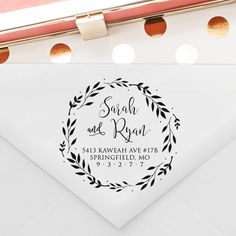 Wreath Calligraphy Wedding Address Stamp