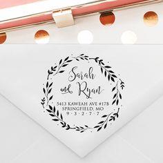 Wreath Calligraphy Wedding Address Stamp