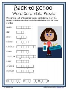 Free Back to School word scramble puzzle from Mixminder.com.