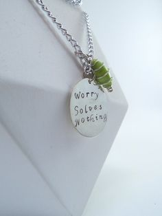 Hand Stamped Worry Solves Nothing Necklace by Kre8vStudioz on Etsy