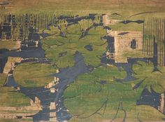 Pond - 1994 by: Sam Chamberlain.-  an acrylic-and-paper collage by artist.
