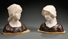 Pair of Bronze and Alabaster Busts of Young Women, Continental, late 19th/early 20th century, each alabaster bust modeled wearing a scarf and mounted on bronze shoulders set on a marble base, .