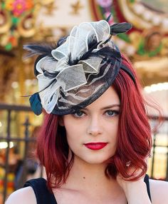 Black & white Zebra Fascinator Womens Tea Party by QueenSugarBee