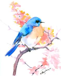 Eastern Bluebird and Pink Flowers by ORIGINALONLY on Etsy