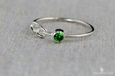 Emerald Infinity Ring, Sterling Silver, Stackable Rings, Mother's Ring, May Birthstone Ring, Infinity Ring, Silver Emerald Ring