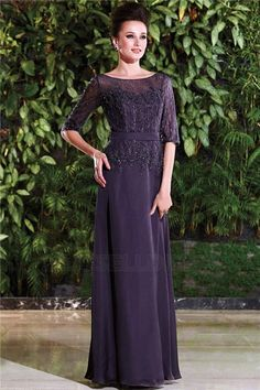 A-Line/Princess Bateau Neck Floor-length Mother of the Bride Dress With Appliques Lace Beading Lace Sequined