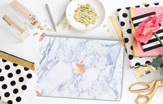 Makrana White Marble Macbook Case with Rose Gold Accents - Check out this item in my Etsy shop https://www.etsy.com/listing/243050646/makrana-white-marble-rose-gold-detailing