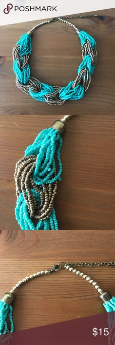 """Turquoise & Gold Seed Bead Fashion Necklace Turquoise & Gold Seed Bead Fashion Necklace.  - Bright shade of turquoise, and gold - Length: 18"""", with 3"""" extension  - Closure: Lobster Clasp Jewelry Necklaces"""
