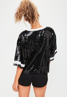 Missguided - Barbie x Missguided Black Sequin T-shirt