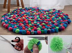 This NO SEW Pom Pom Rug will look beautiful in your home. You'll also love the Sheep and the Teddy Bear Pom Pom Rugs!