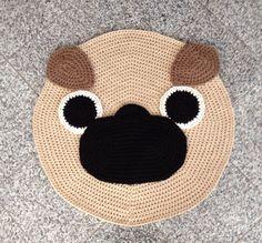 Crochet Pug rug by peanutbutterdynamite on Etsy