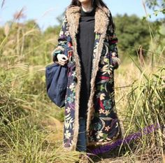 Chinese-Folk-Womens-Winter-Ski-Hooded-Windproof-Gown-Caftan-Coat-Fashion-New