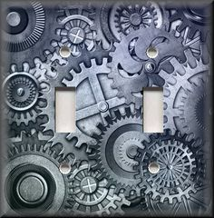 Home Decor - Light Switch Plate Cover - Steampunk Gears - Abstract Art Grey #LunaGallerySwitchPlates