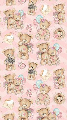 Cute Disney Wallpaper, Kawaii Wallpaper, Pastel Wallpaper, Cute Wallpaper Backgrounds, Cute Cartoon Wallpapers, Pretty Wallpapers, Iphone Backgrounds, Iphone Wallpapers, Bear Wallpaper