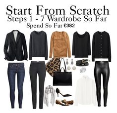 Start From Scratch Wardrobe Steps 1 - 7 by charlotte-mcfarlane on Polyvore featuring Uniqlo, H&M, Chinese Laundry, Zara, Fantasy Jewelry Box, Accessorize and MANGO