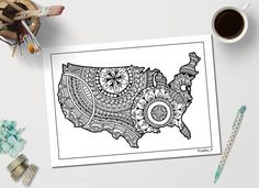Advanced Coloring Pages Of Letters : Usa map printable adult coloring page inspired by zentangle