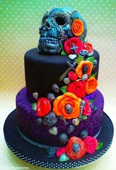 Cake Art: Black Skull Cake with Bright Color Flowers (Artist: Rock Cakes) Pretty Cakes, Cute Cakes, Beautiful Cakes, Amazing Cakes, Crazy Cakes, Fancy Cakes, Punk Wedding, Skull Wedding, Dream Wedding