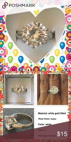 🆕 Real 14K white gold filled white topaz ring Roundcut gold filled huge white topaz around 4ct NWOT brand new in box Jewelry Rings