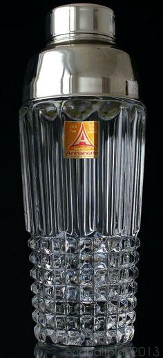 Cocktail Shaker 1960s Mid century 24% Lead Crystal Glass / Cobbler Martini shaker / Vintage Barware Bar cart Home bar