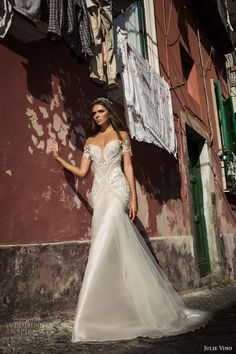 julie vino fall 2017 bridal off the shoulders sweetheart neckline heavily embellished bodice elegant romantic sheath wedding dress low back chapel train (1213) mv