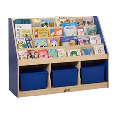 New Arrivals - Colorful Essentials 3 Compartment Storage Book Display - Get your playroom or classroom organized with this sturdy book display. The four easy to reach shelves provide a great spot for favorite books, and the 3 compartments are perfect to keep toys, puzzles and games.