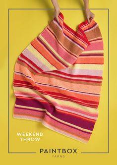 Weekend Throws in Paintbox Yarns Simply Chunky Crochet Yarn, Knitting Yarn, Free Knitting, Baby Knitting, Crochet Afghans, Crotchet, Beginner Knitting Patterns, Knitting For Beginners, Knit Baby Booties