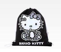 Hello Kitty Sitting Drawstring Bag: Monochrome. #HelloKitty