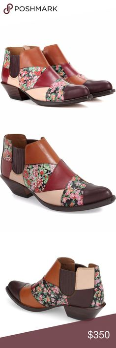 """NWB Coach 'Patchwork Bandit' Western Bootie Brand new with box, size 7. Please note corners of box have very minor wear, but the boots themselves are 100% brand new, and have absolutely no imperfections or flaws. Retailed for $495 and completely sold out.  Multicolored leather patchwork piecing in rich hues informs an ultrachic bootie that perfectly balances contemporary and Western trends. 1 1/2"""" heel (size 8.5). 3 1/2"""" bootie shaft. Pull-on style with elastic goring at sides. Leather upper…"""
