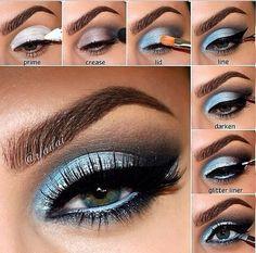 Immagine tramite We Heart It https://weheartit.com/entry/129673854 #black #blue #cool #eyeliner #eyeshadow #fashion #girl #girly #glitter #makeup #style #tutorial #white #make-uptutorial